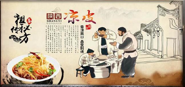 手绘西安壁纸榕城美食壁画站台无缝可换凉皮羊什么福州店名陕西美食街有图片