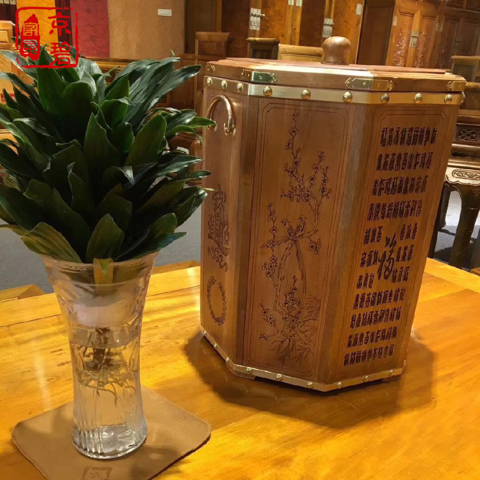 小叶楠木米桶小叶桢楠米桶 实木质收纳桶 红木工艺礼品家居摆件