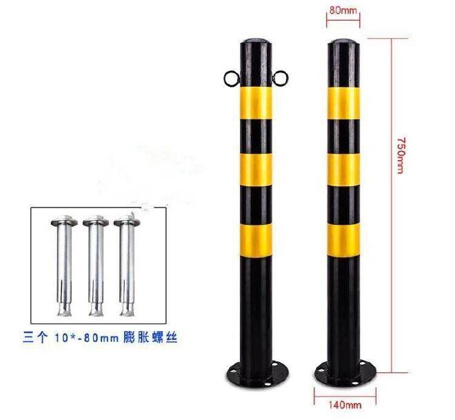 钢铁警示柱分道隔离桩防撞护栏柱铁立柱路障柱停车柱地桩钢管固定示例图2