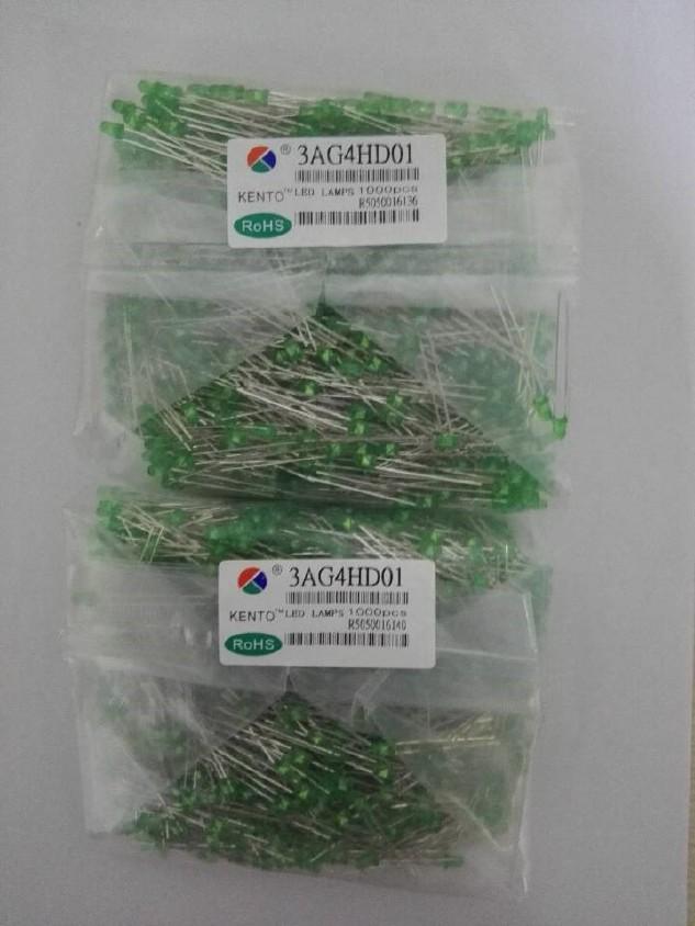 样品免费直插LED Ф3绿色发光管  绿发绿 型号3AG4HD01示例图2