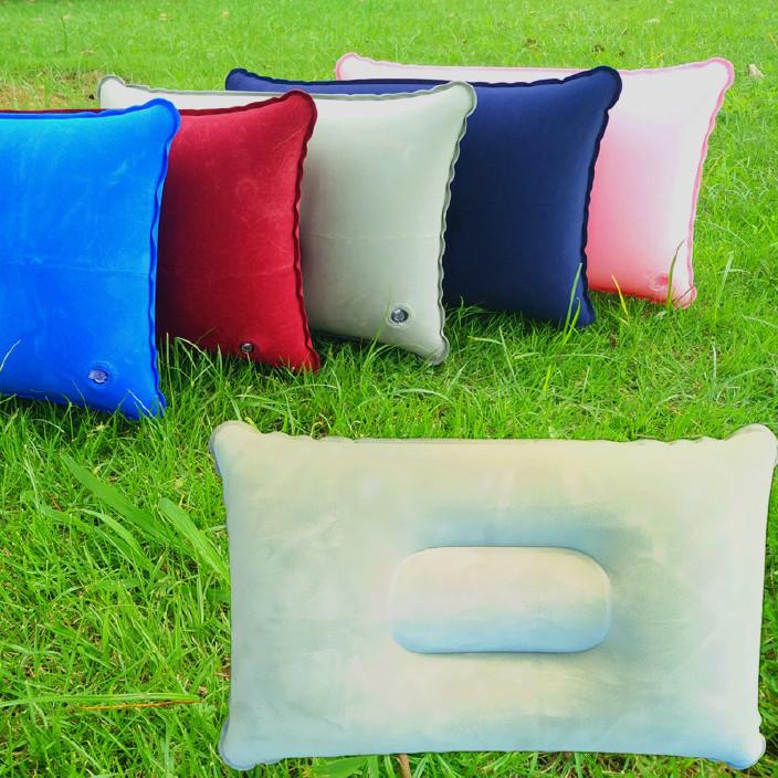 批发户外pvc枕头 旅行露营植绒长方形充气枕头 午睡伴侣方型枕头