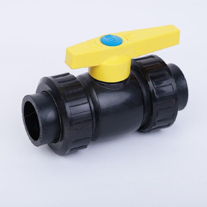 厂家直销水暖管件 pe黑高密度双活接球阀阀门球阀图片