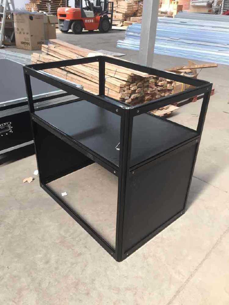 黑色折叠珠宝矮柜铝型材生产 钛合金展示柜配件齐全玻璃折叠柜台