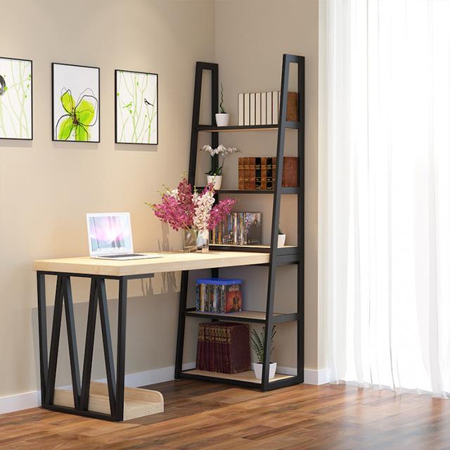 铁艺简易实木台式电脑书桌架组合 简约现代家用收纳办公桌图片