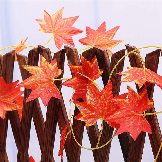 仿真枫叶红枫绿枫红色叶子屋顶吊顶装饰藤条绿植藤条假枫树叶