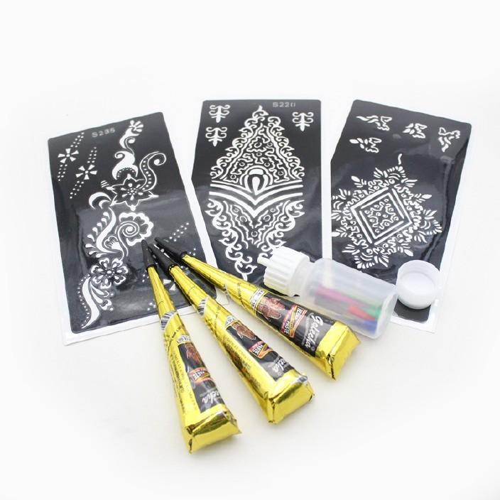 包邮印度黑棕红色海娜纹身膏3支3模板海娜瓶颜料彩绘HEN
