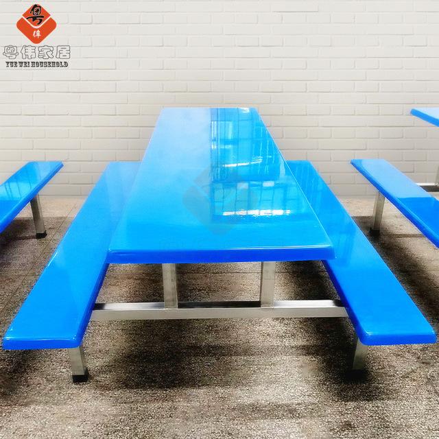 学校食堂餐桌椅 八人连体餐桌椅 学校食堂餐桌椅组合批发