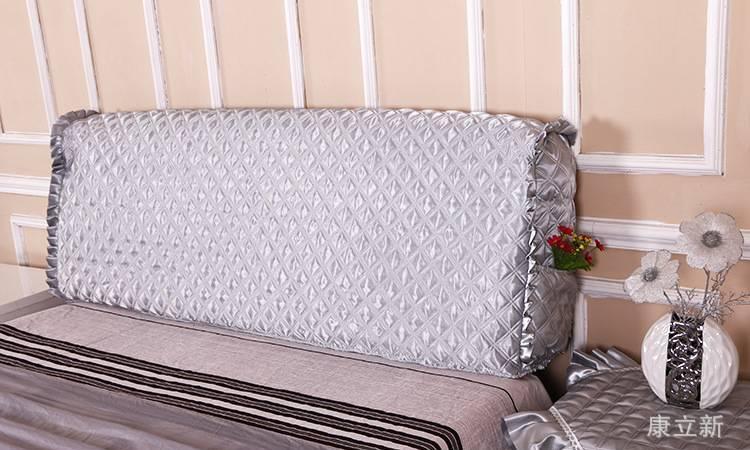 欧式仿真丝加厚绗缝夹棉床头罩全包布艺床头套床头柜盖布皮床头罩