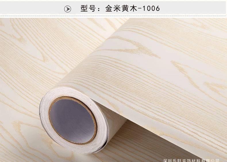 加以厚备水pvc木纹贴纸波音绵软片己粘墙纸衣柜橱柜儿子陈旧房门家具花样翻新示例图27