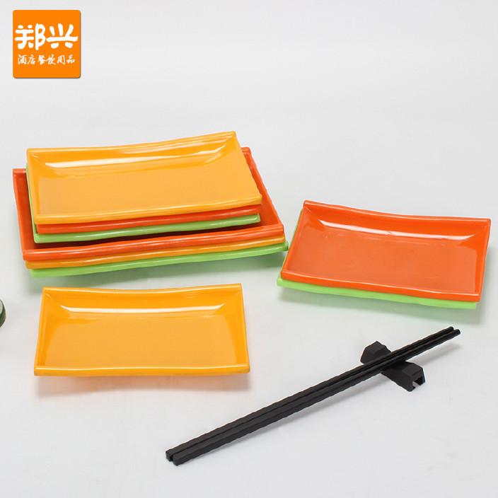 彩色密胺仿瓷餐具竹节碟长方形碟塑料盘子ktv小吃寿司点心菜碟图片