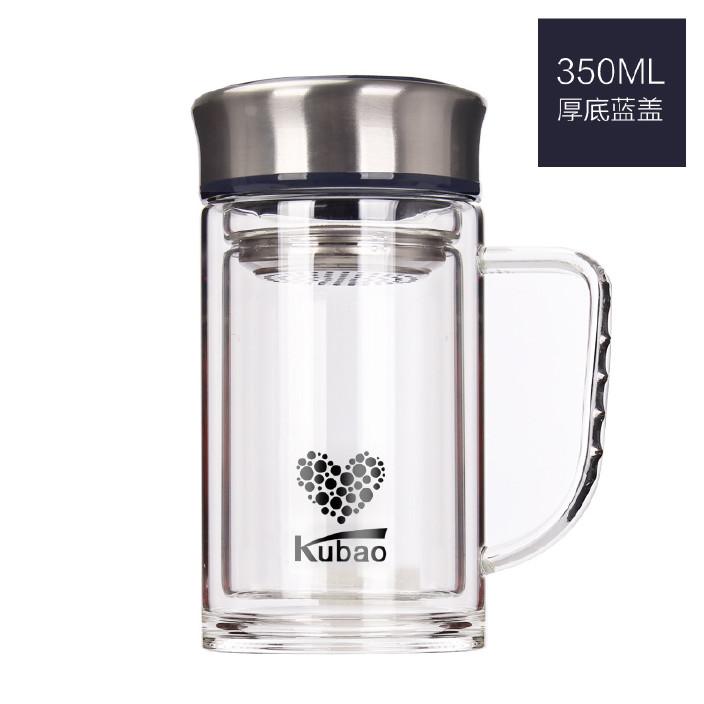 高档玻璃保温杯 双层真空镀银茶杯 带过滤网男女士商务礼品杯