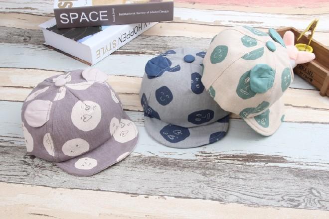 钱袋耳朵猫表情表情软沿帽可爱宝宝婴幼儿潮儿童包棉麻动态图片
