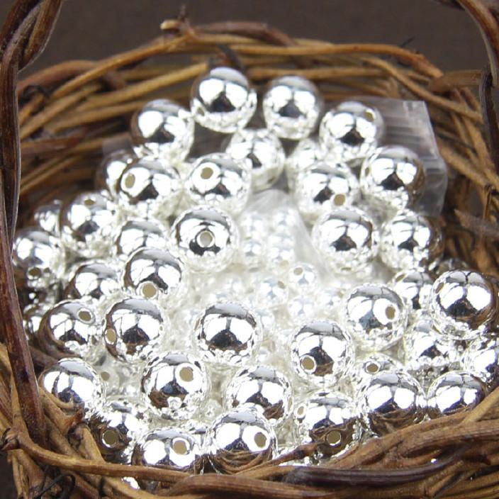 S925厂家散珠佛珠直销光珠纯银银珠DIY滴胶镶钻合金图片
