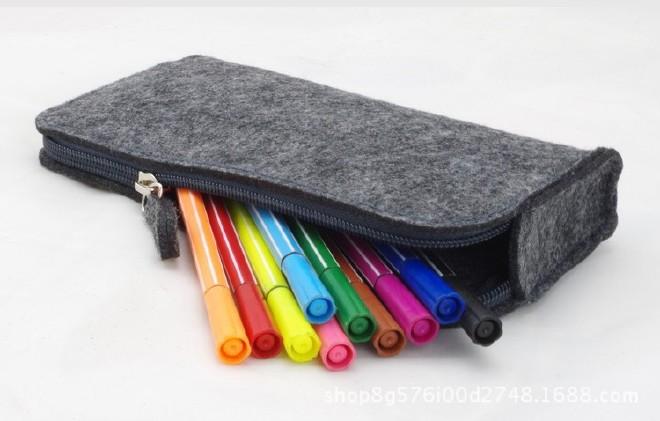 厂家直销毛毡笔袋时尚学生 大容量简约铅笔袋文具学生用品示例图6