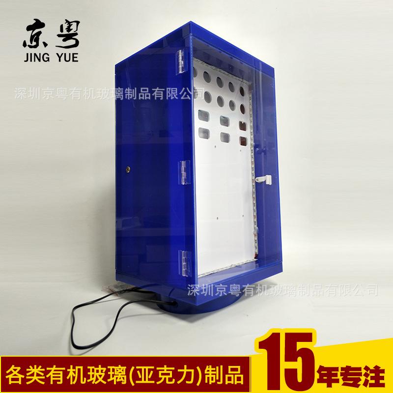 工廠訂做 旋轉發光手機充電器展示架 3C數碼產品小展柜加工定制示例圖4