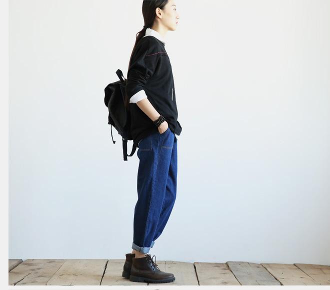 新款江南布衣风格复古怀旧百搭休闲大口袋阔腿裤牛仔裤女1631示例图16