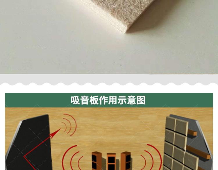 聚酯纤维吸音板 隔音材料 幼儿园装饰艺术吸声棉琴房隔音棉示例图4