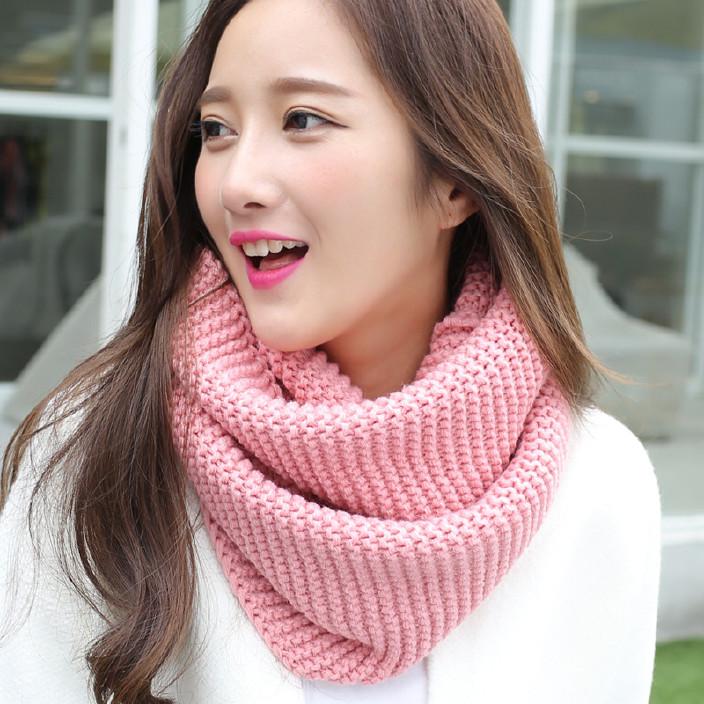 秋冬毛线围脖 韩版女生围脖保暖加厚纯色女士围脖围巾一件代发
