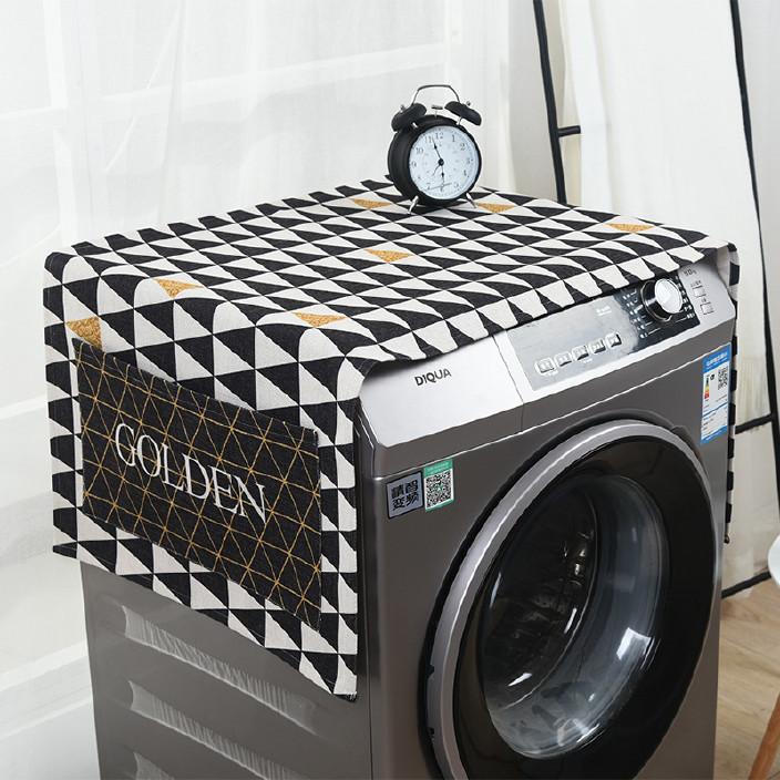 加厚棉麻洗衣机罩套通用防尘保护罩家用单开门冰箱盖布布艺可定制