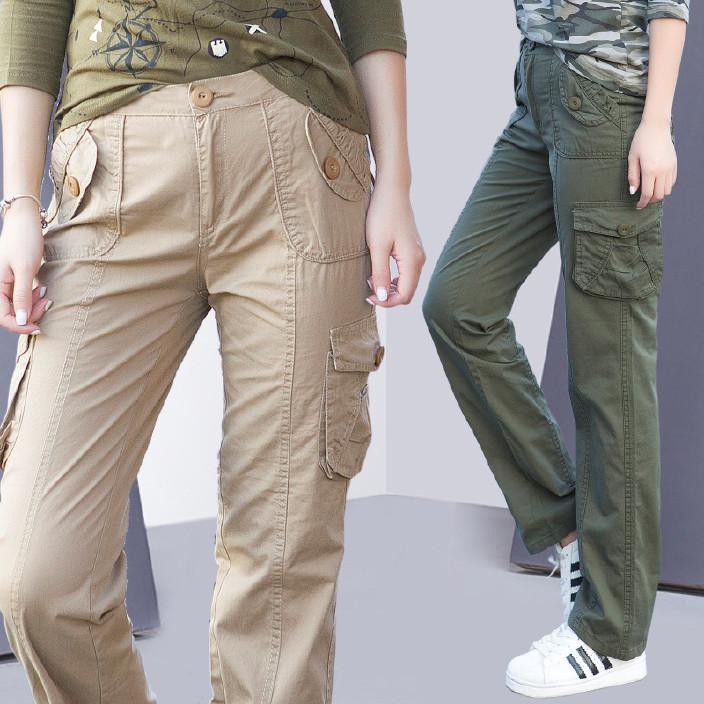 一件代发2018春季新款女裤休闲工装裤修身显瘦宽松外穿长裤棉Z802图片