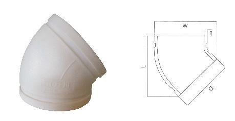 沟槽式HDPE中空排水管,45°直弯,PE沟槽式排水管,PE沟槽静音管示例图7