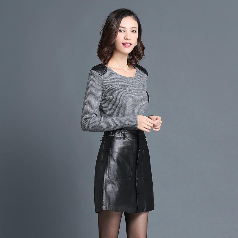秋冬新款真皮皮裙中腰绵羊皮半身裙包臀海宁皮