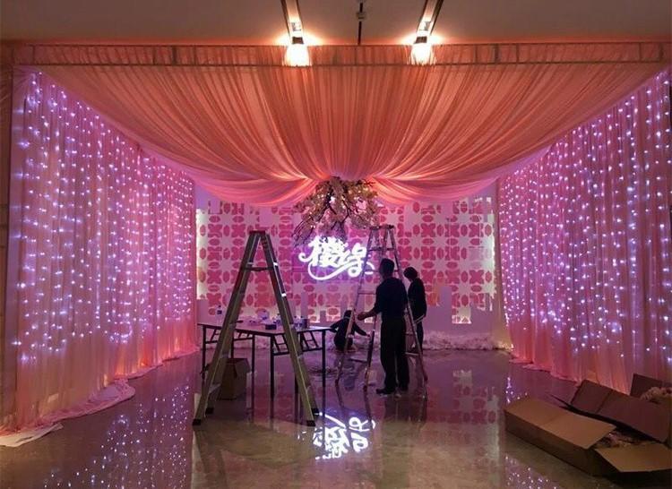 主播房间装饰 圣诞节日网红 LED窗帘灯3*3米304灯 冰条婚庆装饰灯示例图9