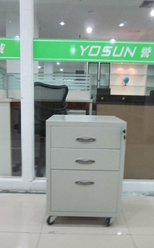 批发办公室钢制三斗活动推柜  多规格办公文件柜  铁皮更衣柜