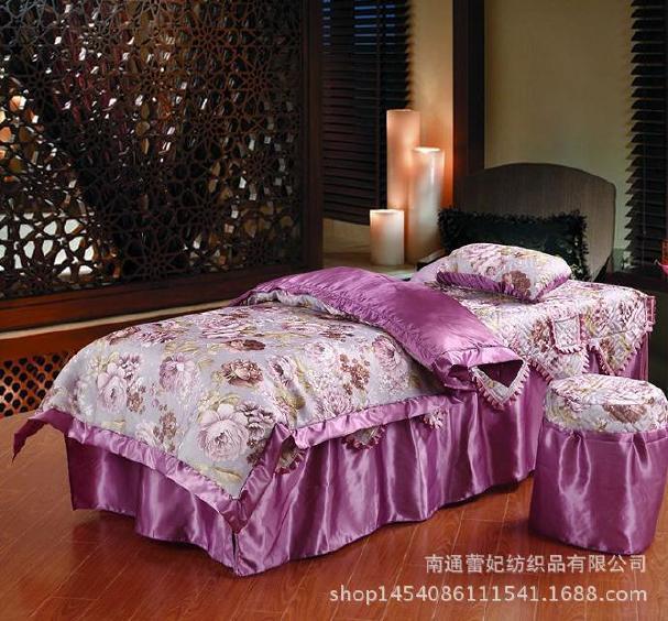 厂家直销高档纯棉美容床罩四件套美容院美容美体按摩床罩可代发