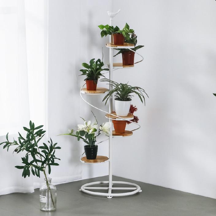 现代简约室内多层花架 创意楼梯式阳台多肉植物架 铁艺装饰盆架图片