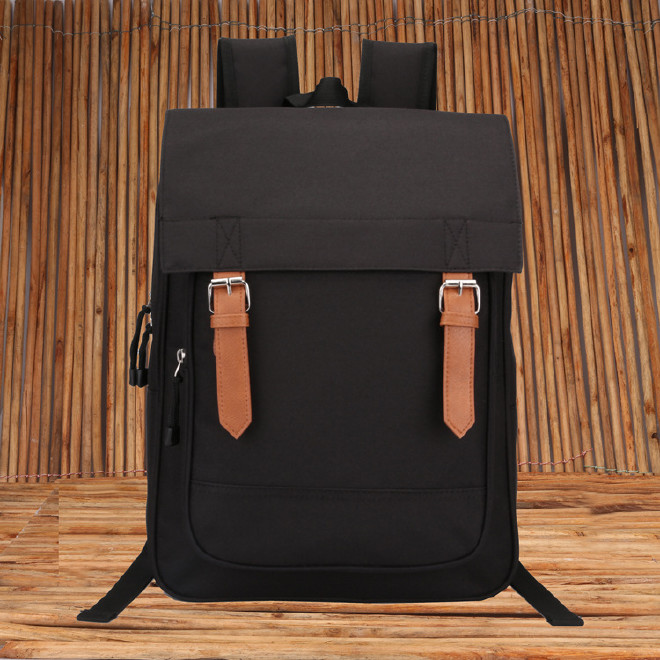 2016新款时尚韩版学院风带盖双肩学生书包 纯色休闲旅游包批发示例图39