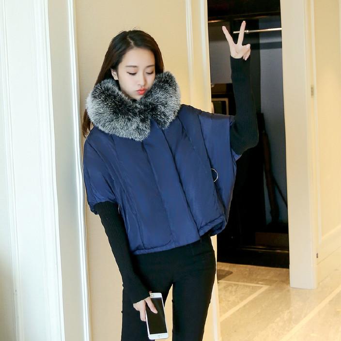 2017外贸新款棉衣女欧美宽松大码蝙蝠衫棉袄毛线袖毛领羽绒棉服图片