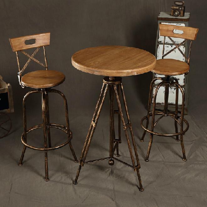 复古做旧 成套餐桌椅组合圆形升降单人餐桌桌椅 咖啡桌椅 可调节