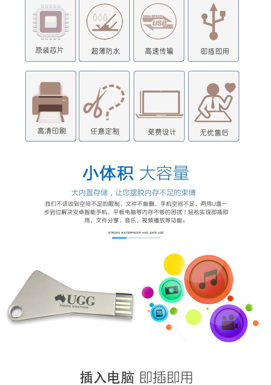 數碼電子連體鑰匙U盤廣告創意u盤定制會議禮品金屬U盤投標4gbu盤示例圖3