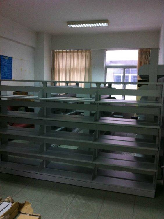 钢制图书架厂家直销 单柱式双面6层图书架 钢制书柜批发定做