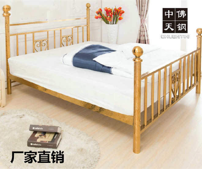 美式鄉村雙人不銹鋼床1.8米單人床1.5米材質201/304