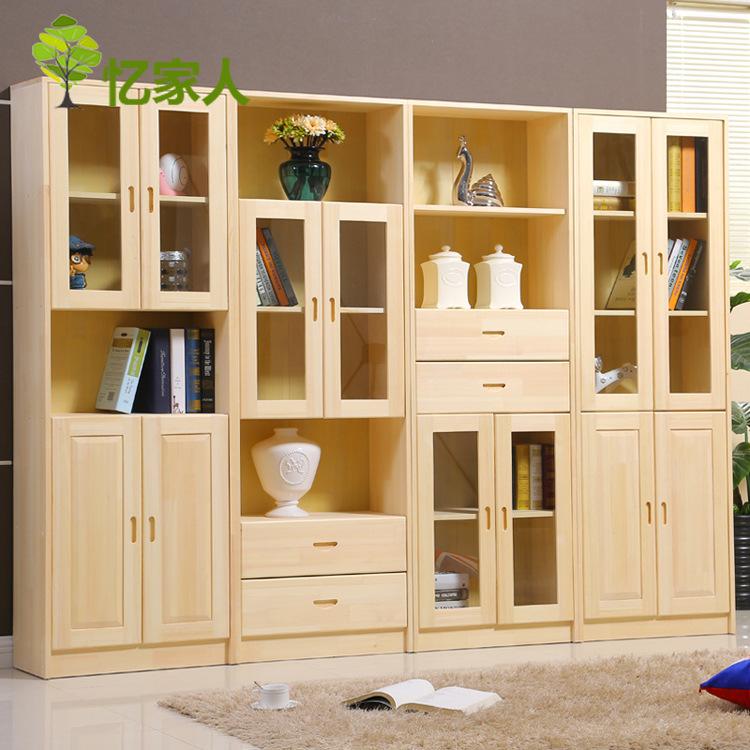 2018新款实木书柜架简约带门储物组合书柜转角多层书柜批发