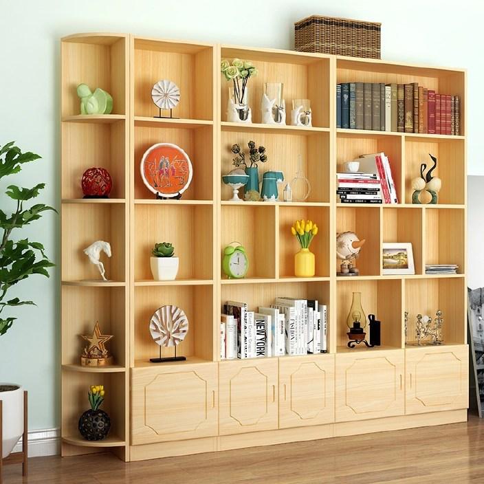 包邮特价 自由组合儿童书柜带门实木松木简易储物柜书架书柜定做