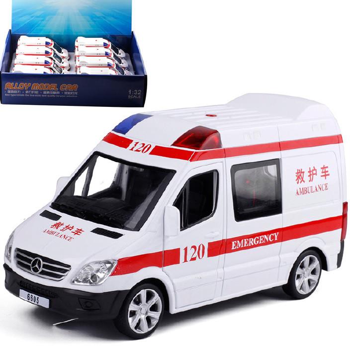 宝思仑 5开门救护车车合金声光回力汽车模型玩具 6605 散装图片