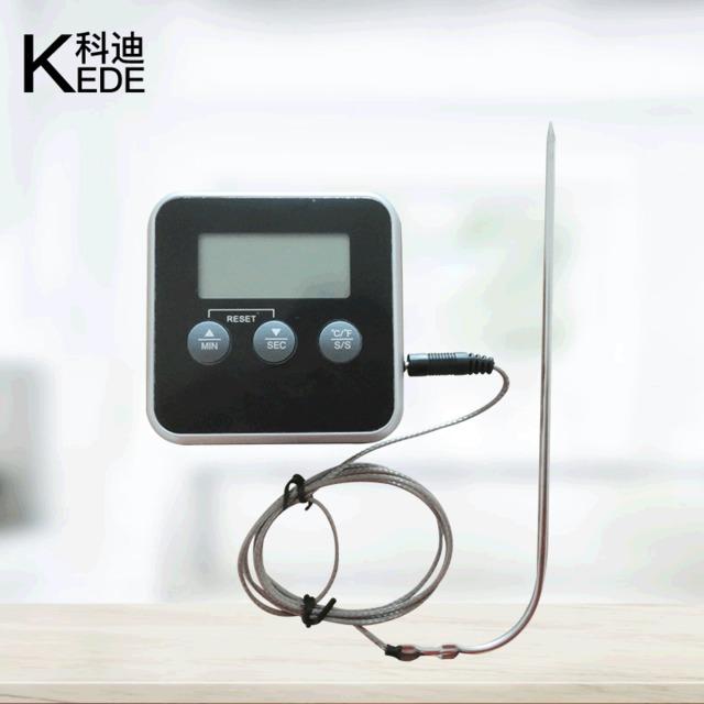 廠家烤肉食品電子溫度計 數顯溫度計家用探針式燒烤溫度計燒烤叉