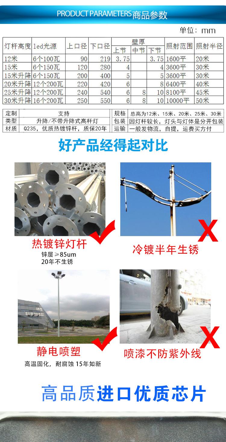 德阳中杆灯生产厂家什邡LED高杆灯批发示例图7