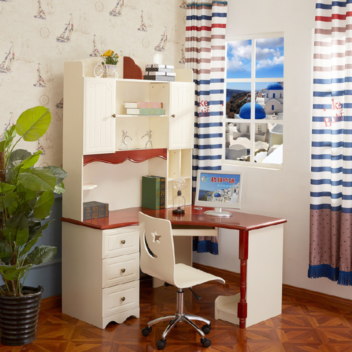 2802电脑桌台式桌 转角书桌 书架组合 地中海直角书桌书柜