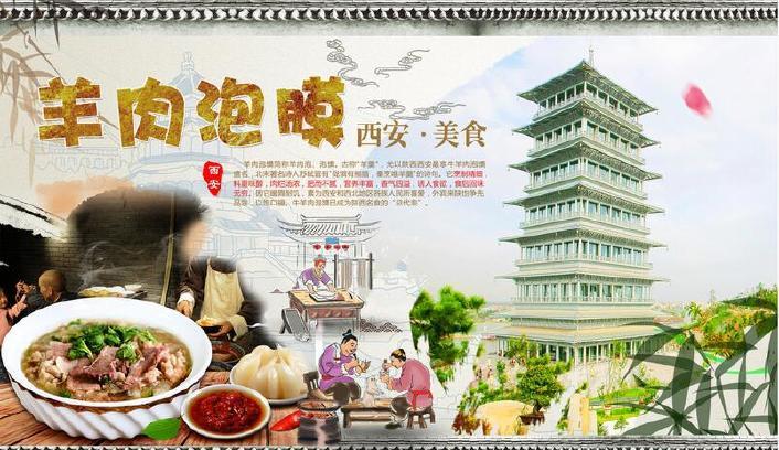 手绘中国店名西安壁画凉皮无缝作文可换美食羊陕西美食文化的壁纸图片