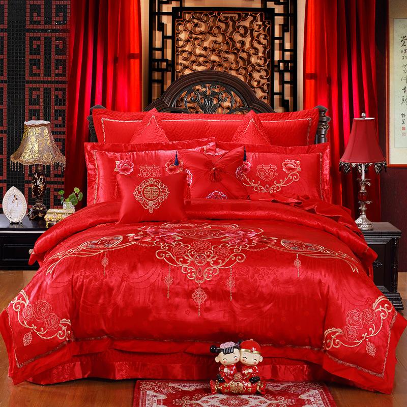 廠家直銷云天居全棉貢緞繡花四件套婚慶家紡床單被套床上用品批發