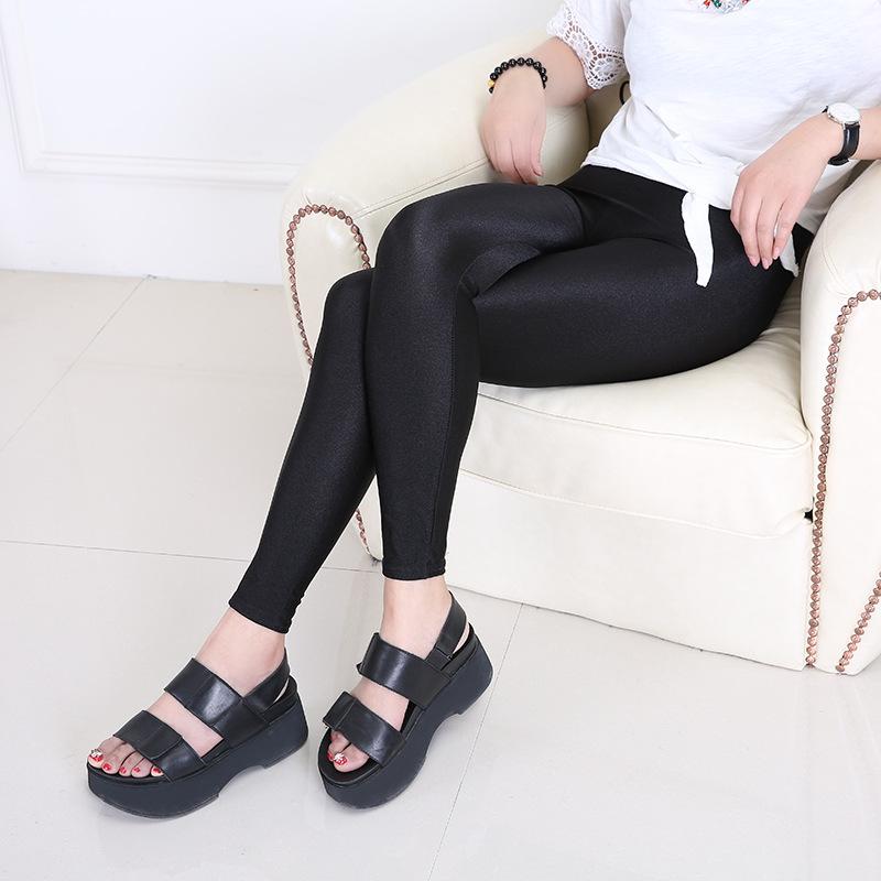 新款大码九分打底裤外穿显瘦裤子韩版女士光泽裤高腰弹力小脚裤
