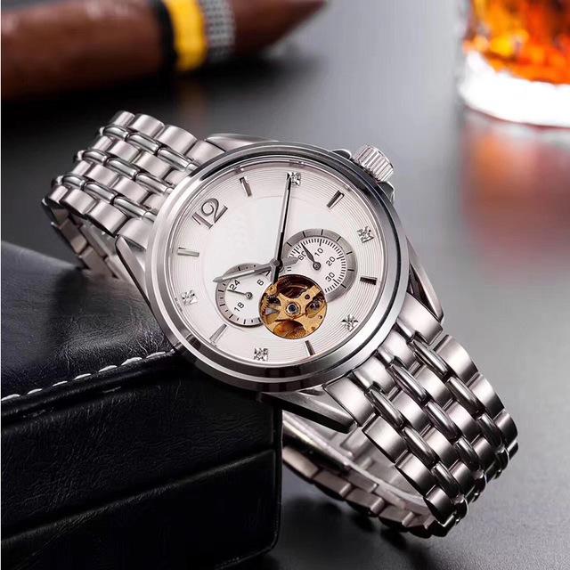 全自动男士机械手表 商务防水镂空不锈钢机械表 精致钢带腕表定制