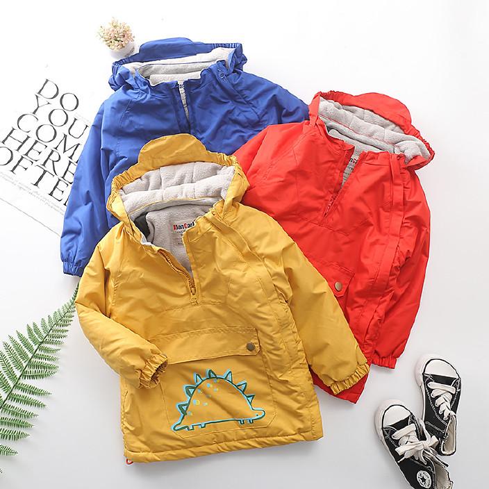 欧美儿童童装 17年冬新款棉服加绒加厚男女童拉链衫防风户外服图片