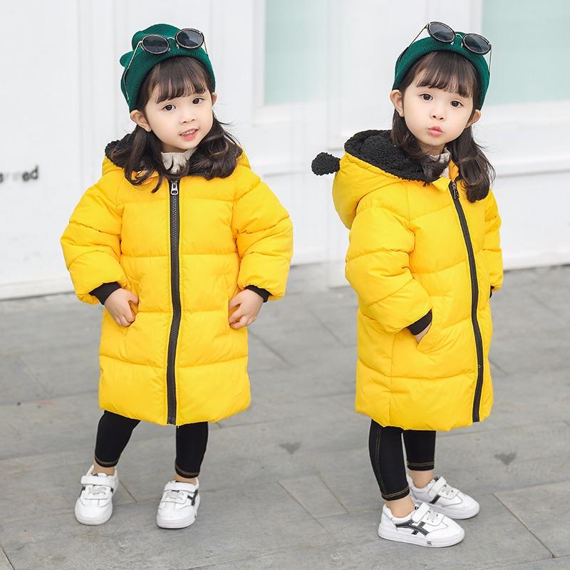 反季儿童棉服男童女童棉袄宝宝中大童装中长款加厚连帽棉衣外套图片