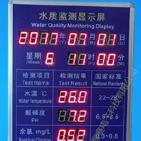 泳池水質公示欄健身房游泳池監測數據告示欄溫泉水溫PH余氯檢測電子顯示屏