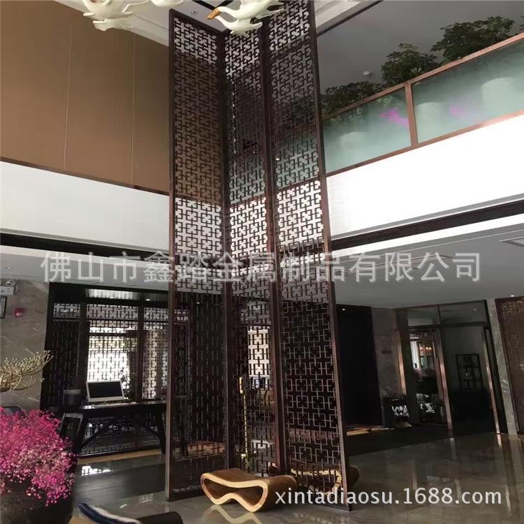 佛山酒店做旧铝板镂空屏风 青古铜铝板屏风隔断厂家示例图13